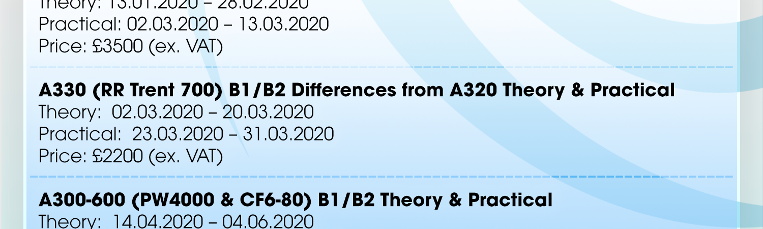 Bostonair Technical Training are delighted to share our confirmed Type Training classroom courses for Q1…